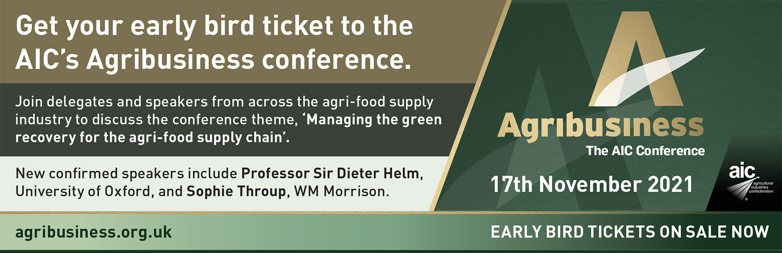 AIC AgriBusiness conference - 17th November 2021 - Early bird tickets on sale now